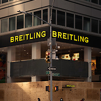 Breitling storefront boarded-up in anticipation of post-election violence in New York City, NY USA.