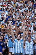 Fans of Argentina during the 2014 FIFA World Cup Final match at Maracana Stadium, Rio de Janeiro<br /> Picture by Andrew Tobin/Focus Images Ltd +44 7710 761829<br /> 13/07/2014