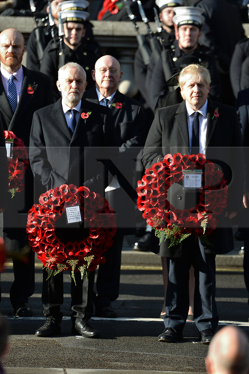 © Licensed to London News Pictures. 10/11/2019. London, UK. British Prime Minister Boris Johnson and British Labour Party leader Jeremy Corbyn attend the annual remembrance ceremony marking the 101st anniversary of the end of the First World War. Photo credit: Ray Tang/LNP