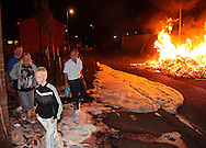 Loyalists in Belfast celebrate Bonfire night on the eve of the Orange Order marches Northern Ireland, UK, 11th July 2011