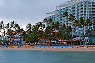 The Kahala Resort and Hotel, located in Honolulu on the souths side of Diamond Head, offers luxurious accommodations and is the only hotel in Oahu with a dolphin program. Dusk falling over the Kahala Resort.