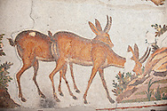 6th century Byzantine Roman mosaics of deer from the peristyle of the Great Palace from the reign of Emperor Justinian I. Istanbul, Turkey. .<br /> <br /> If you prefer to buy from our ALAMY PHOTO LIBRARY  Collection visit : https://www.alamy.com/portfolio/paul-williams-funkystock/istanbul.html<br /> <br /> Visit our TURKEY PHOTO COLLECTIONS for more photos to download or buy as wall art prints https://funkystock.photoshelter.com/gallery-collection/3f-Pictures-of-Turkey-Turkey-Photos-Images-Fotos/C0000U.hJWkZxAbg .<br /> <br /> If you prefer to buy from our ALAMY PHOTO LIBRARY  Collection visit : https://www.alamy.com/portfolio/paul-williams-funkystock/great-palace-mosaic-istanbul.html<br /> <br /> Visit our ROMAN MOSAIC PHOTO COLLECTIONS for more photos to download  as wall art prints https://funkystock.photoshelter.com/gallery-collection/Roman-Mosaics-Art-Pictures-Images/C0000LcfNel7FpLI