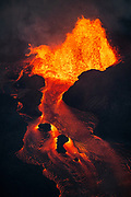 Kilauea's lower east rift zone eruption - Fissure 8 effuses lava at a rate of approximately 100 cubic meters per second, feeding an 8 mile long channelized flow to the sea, adding over 700 acres to the island of Hawai'i.