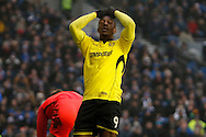 Burton Albion striker Marvin Sordell (9) reacts during the EFL Sky Bet Championship match between Brighton and Hove Albion and Burton Albion at the American Express Community Stadium, Brighton and Hove, England on 11 February 2017. Photo by Richard Holmes.