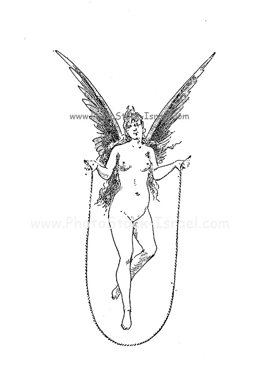 Pencil sketch of a nude female angel skipping rope from Le Nu au Salon 1888 A collection of Nude photography published in Paris in 1888 collected by Silvestre, Armand, 1837-1901 Catalogs of nudes exhibited at the official Paris Salons. Some years have two parts: The Salon held at the Champs Élysées sponsored by the Société des artistes français and the Salon held at the Champ de Mars sponsored by the Société nationale des beaux-arts