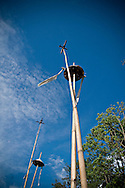 Bahnar totems raise to the blue sky. Pleiku area, Vietnam, Asia