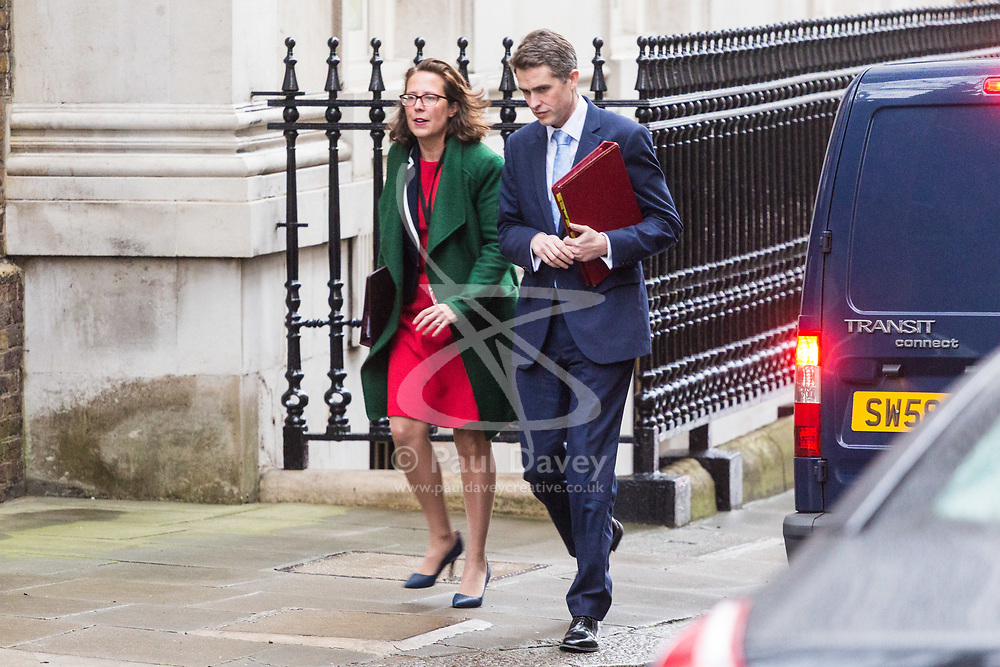 London - Defence Secretary Gavin Williamson and Leader of the House of Lords Baroness Evans attend the weekly meting of the UK cabinet at Downing Street. January 23 2018.