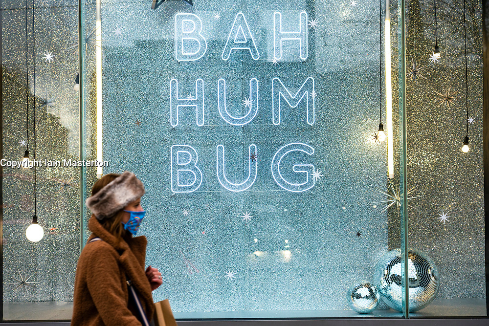 Edinburgh, Scotland, UK. 14 November 2020. Views of Edinburgh city centre on Saturday afternoon during a level 3 lockdown imposed by the Scottish Government.Pictured; Shop window display in Harvey Nichols store.I ain Masterton/Alamy Live News.