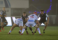 Rugby Union - 2020 / 2021 ERRC Challenge Cup - Newcastle Falcons vs Cardiff Blues - Kingston Park<br /> <br /> Jamie Blamire of Newcastle Falcons is tackled by Dillon Lewis of Cardiff Blues<br /> <br /> COLORSPORT/BRUCE WHITE