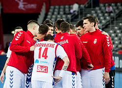 Players of Serbia after the handball match between National teams of Serbia and Belarus on Day 7 in Main Round of Men's EHF EURO 2018, on January 24, 2018 in Arena Zagreb, Zagreb, Croatia.  Photo by Vid Ponikvar / Sportida