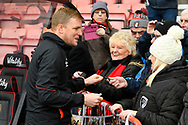 AFC Bournemouth manager Eddie Howe signs autographs for fans before the The FA Cup 3rd round match between Bournemouth and Brighton and Hove Albion at the Vitality Stadium, Bournemouth, England on 5 January 2019.