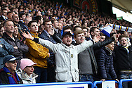 Leeds United fans enjoying their day in the Yorkshire derby. Skybet football league Championship match, Huddersfield Town v Leeds United at the John Smith's Stadium in Huddersfield, Yorks on Saturday 7th November 2015.<br /> pic by Chris Stading, Andrew Orchard sports photography.