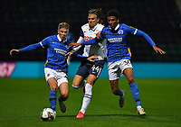Preston North End's Brad Potts battles with Brighton & Hove Albion's Bernardo and Max Sanders<br /> <br /> Photographer Dave Howarth/CameraSport<br /> <br /> The Carabao Cup Third Round - Preston North End v Brighton and Hove Albion - Wednesday 23rd September 2020 - Deepdale - Preston<br />  <br /> World Copyright © 2020 CameraSport. All rights reserved. 43 Linden Ave. Countesthorpe. Leicester. England. LE8 5PG - Tel: +44 (0) 116 277 4147 - admin@camerasport.com - www.camerasport.com