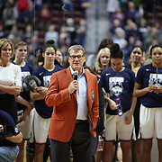 UNCASVILLE, CONNECTICUT- DECEMBER 19:  Head coach Geno Auriemma of the UConn Huskies speaks to players and fans after recording his 1000th win as head coach of the team during the Naismith Basketball Hall of Fame Holiday Showcase game between the UConn Huskies Vs Oklahoma Sooners, NCAA Women's Basketball game at the Mohegan Sun Arena, Uncasville, Connecticut. December 19, 2017 (Photo by Tim Clayton/Corbis via Getty Images)