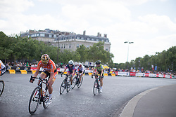 Chantal Blaak (NED) of Boels-Dolmans Cycling Team rides around the Arc de Triomph during the La Course, a 89 km road race in Paris on July 24, 2016 in France.