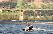 Kiteboarding on the Columbia River in Hood River, Oregon, USA