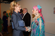 Pat Booth and Zandra Rhodes, Daisy de Villeneuve, ' Not You Again' private view and party, Fashion and Textile museum, 25 June 2004. SUPPLIED FOR ONE-TIME USE ONLY-DO NOT ARCHIVE. © Copyright Photograph by Dafydd Jones 66 Stockwell Park Rd. London SW9 0DA Tel 020 7733 0108 www.dafjones.com