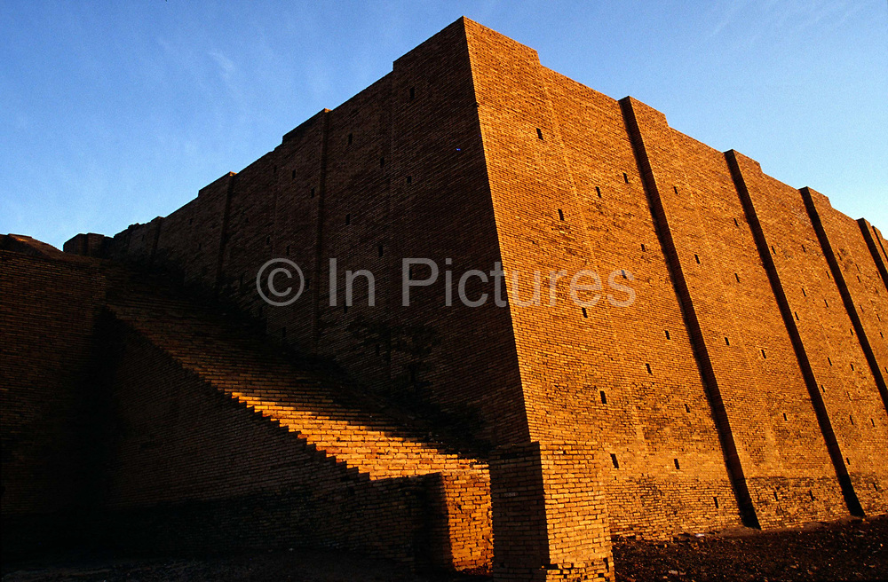 The ziggurat at Ur, supoosedly the city of the prophet Abraham's birth. Ur was a principal city of ancient Mesopotamia.<br /> The Ziggurat was dedicated to the moon and was built approximately in the 21st century BC by king Ur-Namma. In Sumerian times it was called Etemennigur.