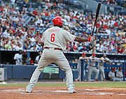ATLANTA - JUNE 30:  First baseman Ryan Howard #6 of the Philadelphia Phillies gets set in the batter's box during the game against the Atlanta Braves at Turner Field on June 30, 2009 in Atlanta, Georgia.  The Braves beat the Phillies 5-4 in 10 innings.  (Photo by Mike Zarrilli/Getty Images)