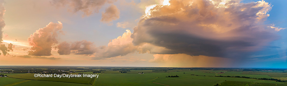 63891-03201 Aerial view of thunderstorm clouds at sunset Marion Co. IL