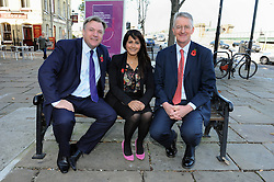 © Licensed to London News Pictures. 27/10/2014<br /> Naushabah Khan (Labour candidate) with Ed Balls(L) and Hilary Benn MP(r)<br /> Ed Balls, Labour's shadow chancellor,has been in Rochester on the campaign trail  today(27.10.2014)<br /> Mr Balls was joined by Labour candidate Naushabah Khan at Bruno's French Bakes shop in Rochester high Street to meet local people and make Carrot cake with Bruno Breillet  (Pastry Chief) and Naushabah Khan .<br /> Hilary Benn MP, Labour's Shadow Communities and Local Government Secretary was also at the event.<br /> <br /> (Byline:Grant Falvey/LNP)
