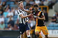 Nathaniel Knight-Percival of Bradford City pushes Aiden O'Brien of Millwall by the neck. EFL Skybet football league one match, Millwall v Bradford city at The Den in London on Saturday 3rd September 2016.<br /> pic by John Patrick Fletcher, Andrew Orchard sports photography.