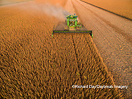 63801-09304 Soybean Harvest, John Deere combine harvesting soybeans - aerial - Marion Co. IL
