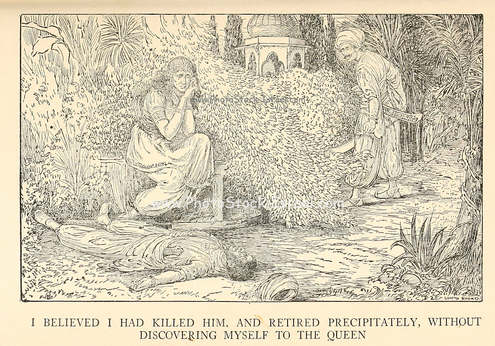 I Believed I Had Killed Him, And Retired Precipitately, Without Discovering Myself To The Queen from the book '  The Arabian nights' entertainments ' Test and Illustrations by Louis Rhead, Published  in New York by Harper & Brothers in 1916. In order to save her life, Sheherazade entertains the sultan by telling him wondrous stories