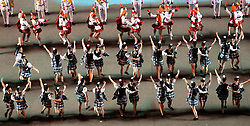 Edinburgh, Scotland, UK. 1 August, 2019. Preview opening night of the 2019 Royal Edinburgh Military Tattoo, performed on the esplanade at Edinburgh Castle. This is the Tattoo's 69th year and it runs from 2-24 August. Pictured The Lochiel marching Drill Team