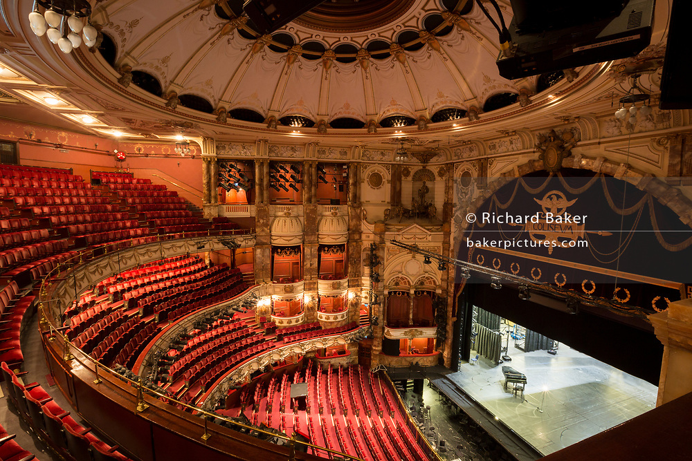 The empty auditorium of the London Coliseum, home of English National Opera (ENO), remains closed for performances during the Coronavirus pandemic lockdown, on 7th July 2020, in London, England. The UK's theatre ticket revenue contributes £1.28bn to the nation's economy, in which there are 290,000 jobs (70% are at risk) so the government has announced a financial rescue package for the Arts industry, a £1.15bn support for cultural organisations in England that is made up of £880m in grants and £270m of repayable loans. But theatre and opera companies such as ENO, whose last performance was The Marriage of Figaro on 14th March, will stay closed for the foreseeable future until there are changes in social distance and safety guidelines. The 2,395-seat Coliseum (1904) is a Baroque revival (Wrenaissance) style theatre, built as one of West End's largest and most luxurious variety theatres.
