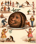 Twice Ten are Twenty,/We shall all have plenty,/Each a slice, how very nice!/Twice ten are ?'.  From 'The Merry Multiplication Table' by Irving Montague (London c1870). Chromolithograph.