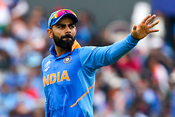 Virat Kohli of India waves - Mandatory by-line: Robbie Stephenson/JMP - 09/07/2019 - CRICKET - Old Trafford - Manchester, England - India v New Zealand - ICC Cricket World Cup 2019 - Semi Final