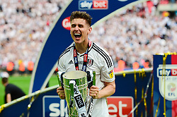 Free to use courtesy of Sky Bet. Tom Cairney of Fulham celebrates with the Sky Bet Play Off Final trophy  - Mandatory by-line: Dougie Allward/JMP - 26/05/2018 - FOOTBALL - Wembley Stadium - London, England - Aston Villa v Fulham - Sky Bet Championship Play-off Final