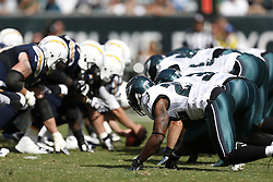 Philadelphia Eagles and San Diego Chargers special teams on the line of scrimmage during the NFL game between the San Diego Chargers and the Philadelphia Eagles in Philadelphia. The Chargers won 33-30. (Photo by Brian Garfinkel)