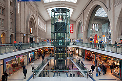 Interior of Leipzig railway station or hauptbahnhof in Germany