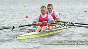 Poznan, POLAND.   2004 FISA World Cup, Malta Lake Course.  <br /> <br /> Fri. morning from the start pontoon<br /> <br /> DEN LM2X. bow. Rasmus Quist and Mads Rasmussen.<br /> <br /> 09.05.2004<br /> <br /> [Mandatory Credit:Peter SPURRIER/Intersport Images]