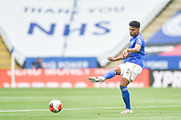 LEICESTER, ENGLAND - JULY 04: James Justin of Leicester City with a pass out to the wing during the Premier League match between Leicester City and Crystal Palace at The King Power Stadium on July 4, 2020 in Leicester, United Kingdom. Football Stadiums around Europe remain empty due to the Coronavirus Pandemic as Government social distancing laws prohibit fans inside venues resulting in all fixtures being played behind closed doors. (Photo by MB Media)