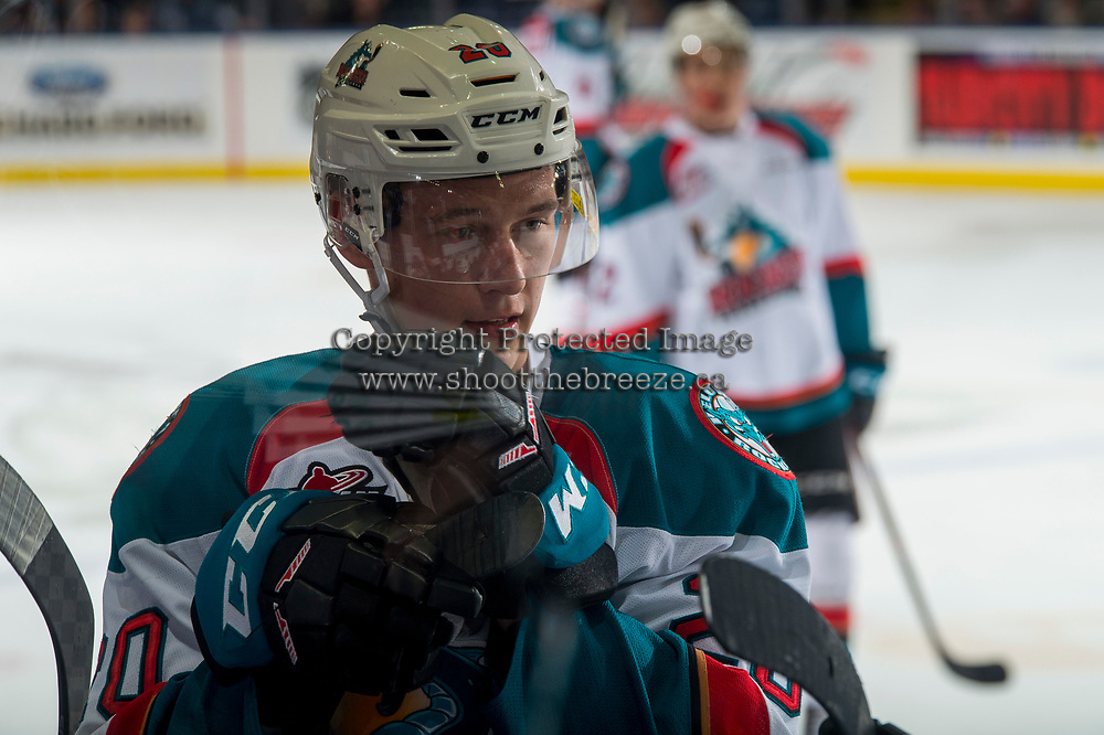 KELOWNA, CANADA - FEBRUARY 2: Conner Bruggen-Cate #20 of the Kelowna Rockets stands at the bench against the Kamloops Blazers on February 2, 2019 at Prospera Place in Kelowna, British Columbia, Canada.  (Photo by Marissa Baecker/Shoot the Breeze)