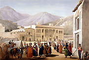 First Anglo-Afghan War 1838-1842. Shah Shujah or Shoja, puppet of British, holding a Durbar at Cabul (Kabul). From J Atkinson Sketches in Afghanistan' London 1842. Hand-coloured lithograph.