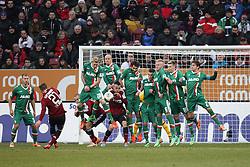 16.02.2014, SGL Arena, Augsburg, GER, 1. FBL, FC Augsburg vs 1. FC Nuernberg, 21. Runde, im Bild l-r: Mauer beim Freistoss Halil ALTINTOP #7 (FC Augsburg), Arkadiusz MILIK #9 (FC Augsburg), Kevin VOGT #6 (FC Augsburg), Jan-Ingwer CALLSEN-BRACKER #18 (FC Augsburg), Paul VERHAEGH #2 (FC Augsburg) // during the German Bundesliga 21th round match between FC Augsburg and 1. FC Nuernberg at the SGL Arena in Augsburg, Germany on 2014/02/16. EXPA Pictures © 2014, PhotoCredit: EXPA/ Eibner-Pressefoto/ Kolbert<br /> <br /> *****ATTENTION - OUT of GER*****