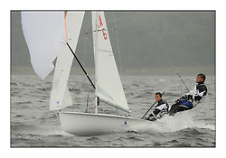 470 Class European Championships Largs - Day 2.Wet and Windy Racing in grey conditions on the Clyde..FRA6, Vianney GUILBAUD, Mathieu FOUNTAINE, Club Voile De Saint Quentin En Yvelines...