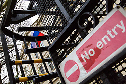 """""""No Entry"""". 23 Russian diplomats and their families prepare to leave the Russian embassy in London following their expulsion in the wake of the Salisbury poisoning case which has former spy Sergei Skripal and his daughter who remain in hospital in critical condition. . London, March 20 2018."""