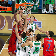 Panathinaikos's Nicholas Calathes (B) during their Euroleague Final Four semifinal Game 1 basketball match CSKA Moscow's between Panathinaikos at the Sinan Erdem Arena in Istanbul at Turkey on Friday, May, 11, 2012. Photo by TURKPIX