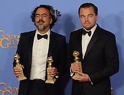 LEONARDO DI CAPRIO + ALEJANDRO GONZALES INARRITU @ the 73rd Annual Golden Globe awards held @ the Beverly Hilton hotel.<br /> ©Exclusivepix Media