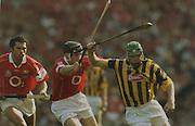 Kilkenny's Henry Shefflin in action against Cork's John Gardiner and Sean Og O'hAilpin.