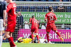 Falkirk's Will Vaulks and keeper Michael McGovern after Raith Rovers goal.<br /> Falkirk 2 v 1 Raith Rovers, Scottish Championship game played today at The Falkirk Stadium.<br /> © Michael Schofield.