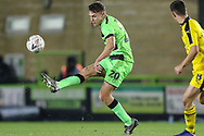 Forest Green Rovers Paul Digby(20) passes the ball forward during the The FA Cup 1st round replay match between Forest Green Rovers and Oxford United at the New Lawn, Forest Green, United Kingdom on 20 November 2018.