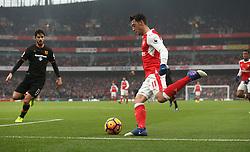 11 February 2017 Premier League Football : Arsenal v Hull City :<br /> Mesut Ozil in action for Arsenal.<br /> Photo: Mark Leech