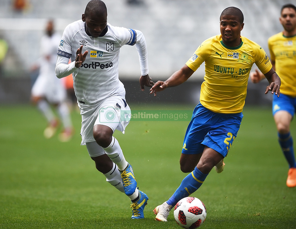Cape Town-180825- Cape Town City player Thami Mkhize challenged by  Mamelodi Sundowns defender Lyle Lakay in the MTN 8 semi-final at Cape Town Stadum.Photographer :Phando Jikelo/African News Agency/ANA