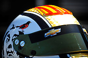 24-26 August, 2012, Sonoma, California USA.Oriol Servia (22) helmet detail.(c)2012, Jamey Price.LAT Photo USA